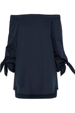 TIBI Off-the-shoulder cotton-poplin blouse