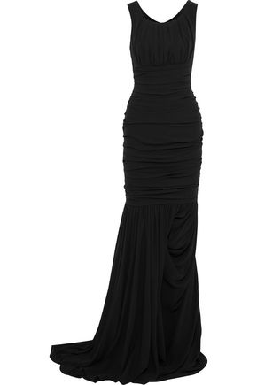 DOLCE & GABBANA Fluted ruched silk-crepe gown