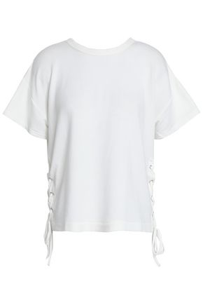 RAG & BONE Lace-up modal and cotton-blend jersey T-shirt