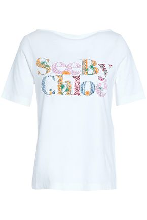 SEE BY CHLOE | See By Chloé Woman Printed Cotton-jersey T-shirt White | Goxip