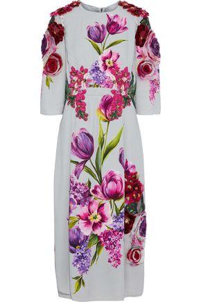 DOLCE & GABBANA Appliquéd floral-print crepe midi dress