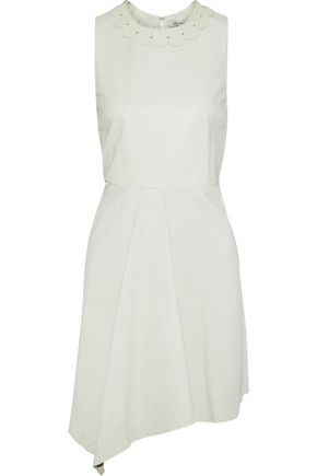 YVES SALOMON Appliquéd pleated leather mini dress