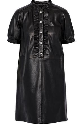 YVES SALOMON Ruffle-trimmed leather mini dress