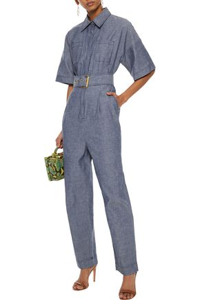 DIANE VON FURSTENBERG Belted cotton-chambray jumpsuit