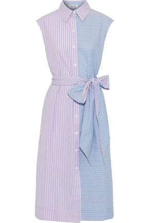 DIANE VON FURSTENBERG Paneled striped cotton-poplin midi shirt dress
