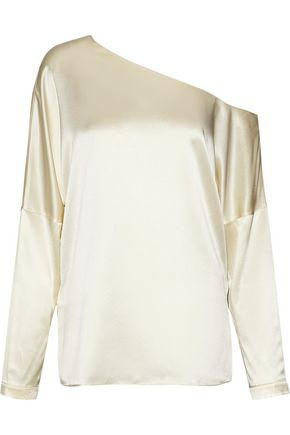 TIBI One-shoulder silk-satin top