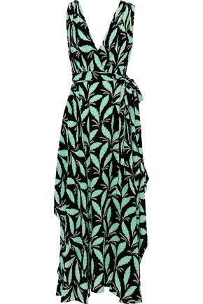 DIANE VON FURSTENBERG Bow-detailed printed silk midi dress