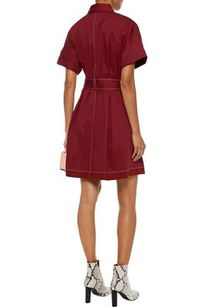 DIANE VON FURSTENBERG Belted stretch-cotton mini shirt dress
