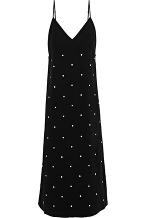 TIBI Studded crepe midi slip dress