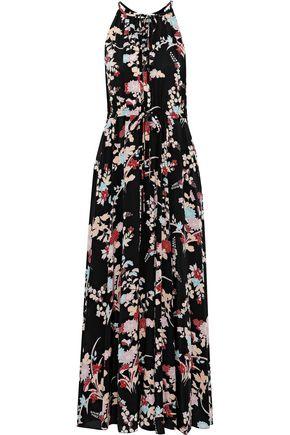 DIANE VON FURSTENBERG Gathered floral-print silk crepe de chine maxi dress