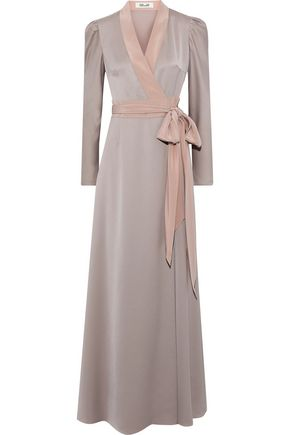 DIANE VON FURSTENBERG Satin-trimmed crepe de chine maxi wrap dress