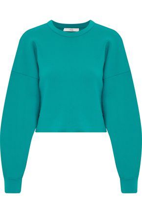 TIBI Cropped French terry sweatshirt