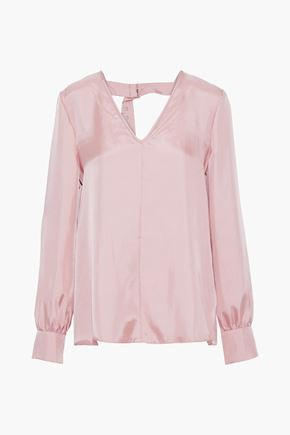 TIBI Open-back satin-twill blouse