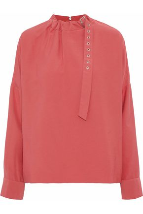 TIBI Asymmetric buckle-detailed blouse