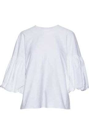 TIBI Watts button-embellished cotton Oxford blouse