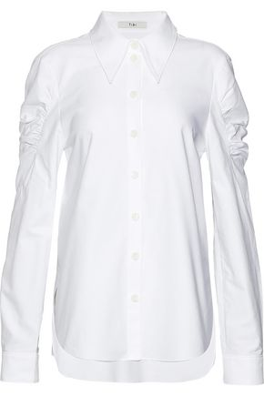 TIBI Watts shirred cotton Oxford shirt