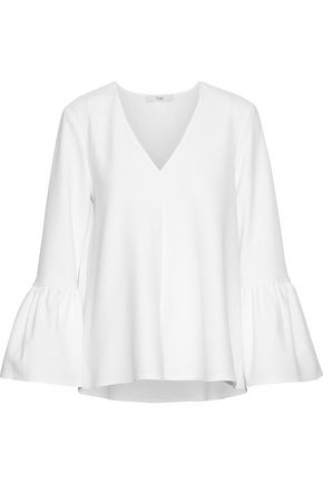 TIBI Fluted stretch-crepe blouse