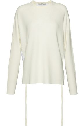 TIBI Poplin-paneled merino wool sweater