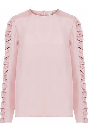 TIBI Shirred satin-twill blouse