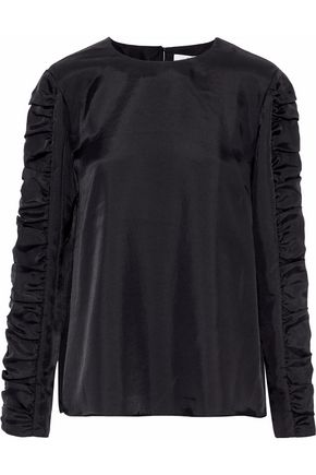 TIBI Shirred satin-twill blouse