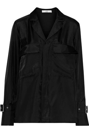 TIBI Buckled satin-twill shirt