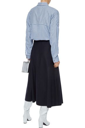 TIBI Buckled striped twill blouse