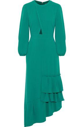 TIBI Asymmetric cutout ruffled crepe midi dress