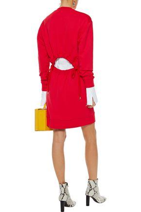 TIBI Cutout French cotton-terry mini dress