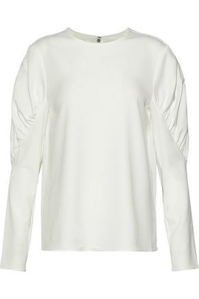 TIBI Florence gathered twill blouse