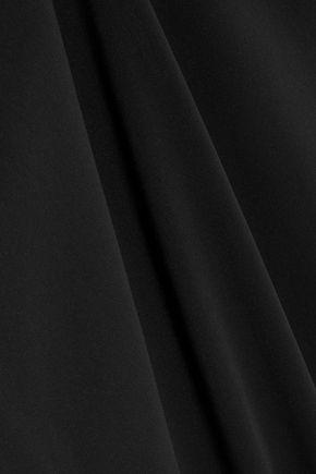 BADGLEY MISCHKA Bow-embellished sateen halterneck gown