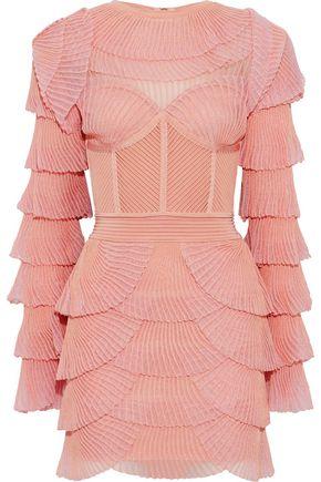 BALMAIN Ribbed knit-paneled tiered plissé-mesh mini dress