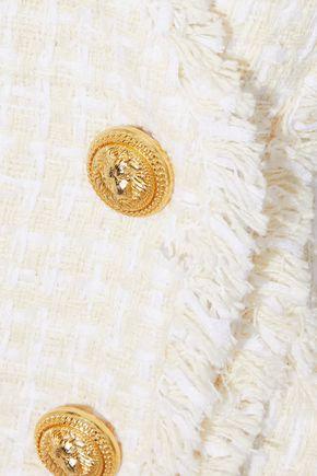 BALMAIN Button-embellished bouclé-tweed mini dress