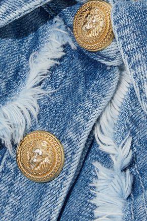 BALMAIN Frayed embroidered denim mini dress