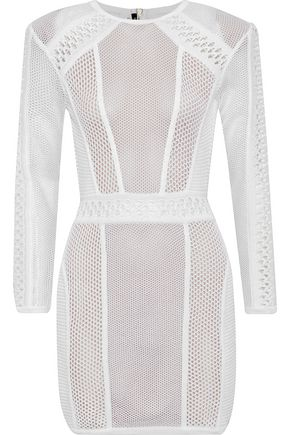 BALMAIN Open-knit mini dress