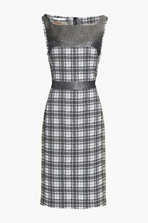 ANTONIO BERARDI Metallic woven-paneled checked jacquard dress