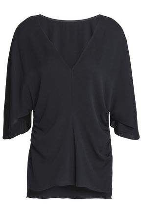 HALSTON HERITAGE Gathered silk-blend crepe blouse