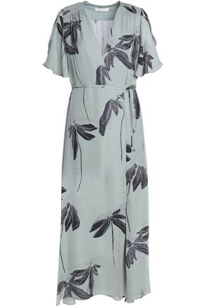 HALSTON HERITAGE Wrap-effect printed silk midi dress