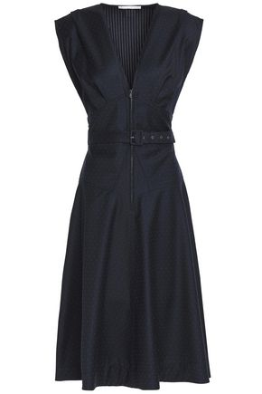 ANTONIO BERARDI Belted wool-jacquard dress