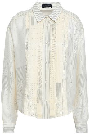PIAZZA SEMPIONE Pleated polka-dot silk shirt
