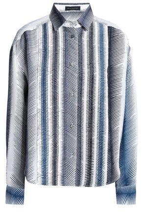 PIAZZA SEMPIONE Pleated printed silk shirt