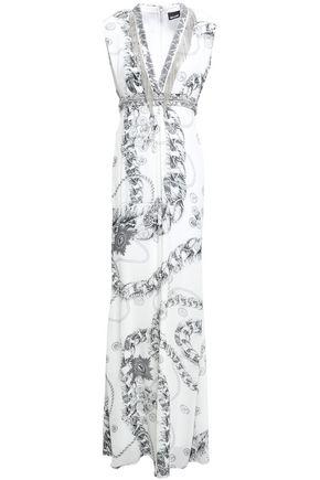 JUST CAVALLI Chain-trimmed printed georgette maxi dress