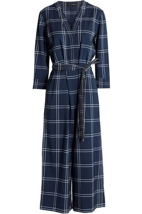 PIAZZA SEMPIONE Cropped checked jacquard jumpsuit