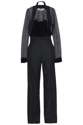 ANTONIO BERARDI Organza-paneled wool-velvet jumpsuit
