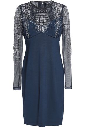 JUST CAVALLI Crystal-embellished tulle and stretch-knit mini dress