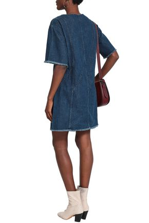 RAG & BONE Frayed denim mini dress