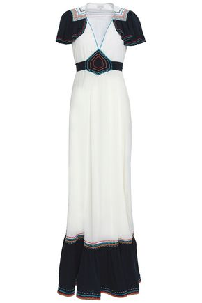 TALITHA Fluted embroidered cotton-gauze maxi dress