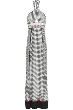TALITHA Cutout printed silk crepe de chine halterneck maxi dress