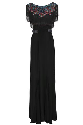 TALITHA Fringed embroidered silk-crepe gown