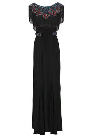 TALITHA フリンジ付き 刺繍入り シルククレープ ロングドレス