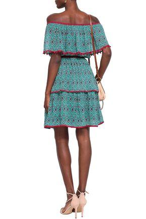 TALITHA Off-the-shoulder printed silk crepe de chine mini dress